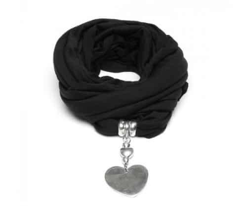 Sciarpa gioiello in tessuto jersey con pendente cuore. cod.al18006